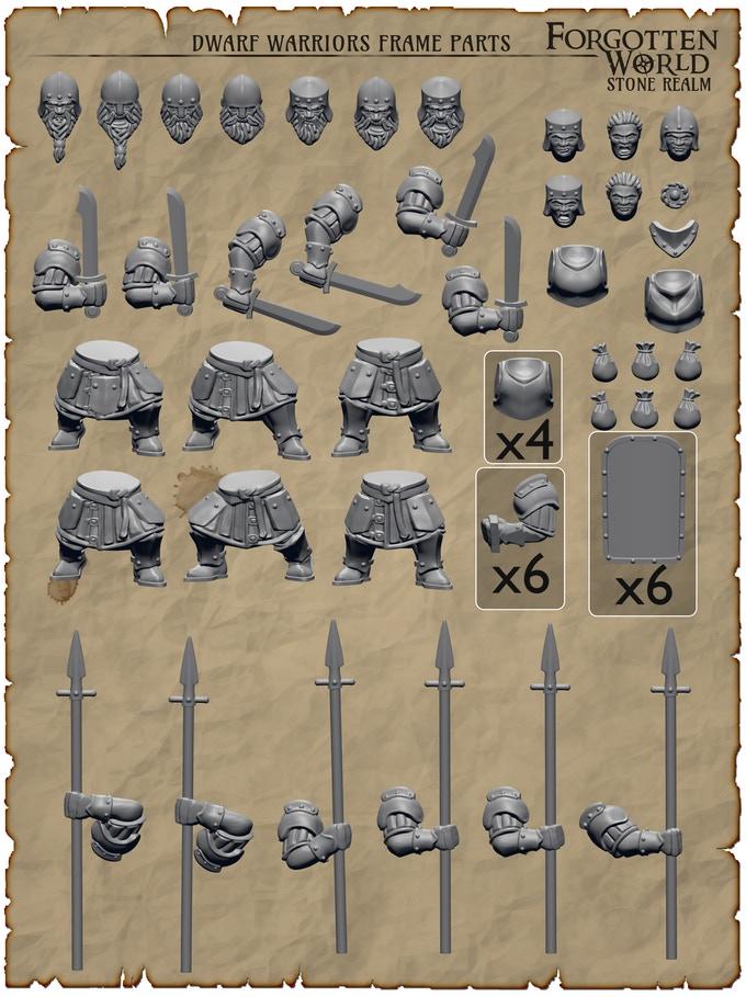 Stone Realm Dwarf Warriors Sprue