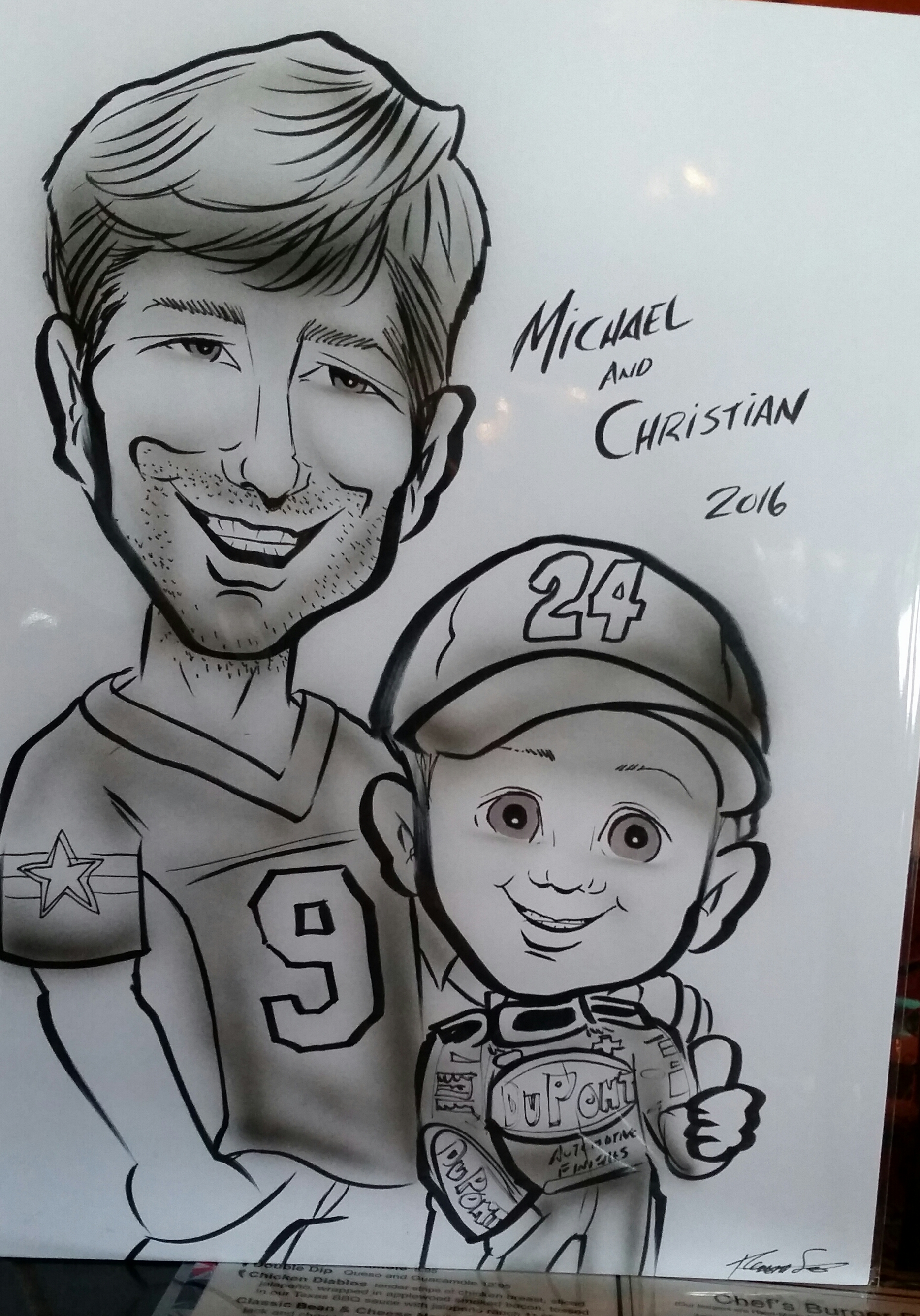 "Michael ""MJ The Terrible"" Johnson and Son Christian Johnson Caricature (2016)"