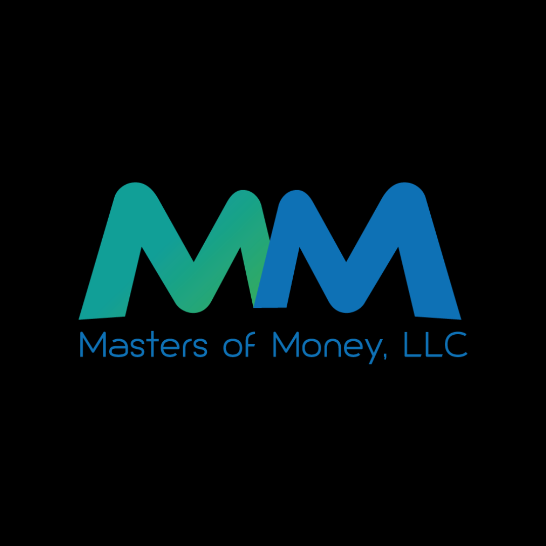 Masters of Money LLC Blue & Green Double M Logo