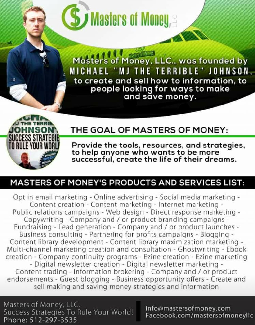 Masters of Money LLC Products & Services Poster