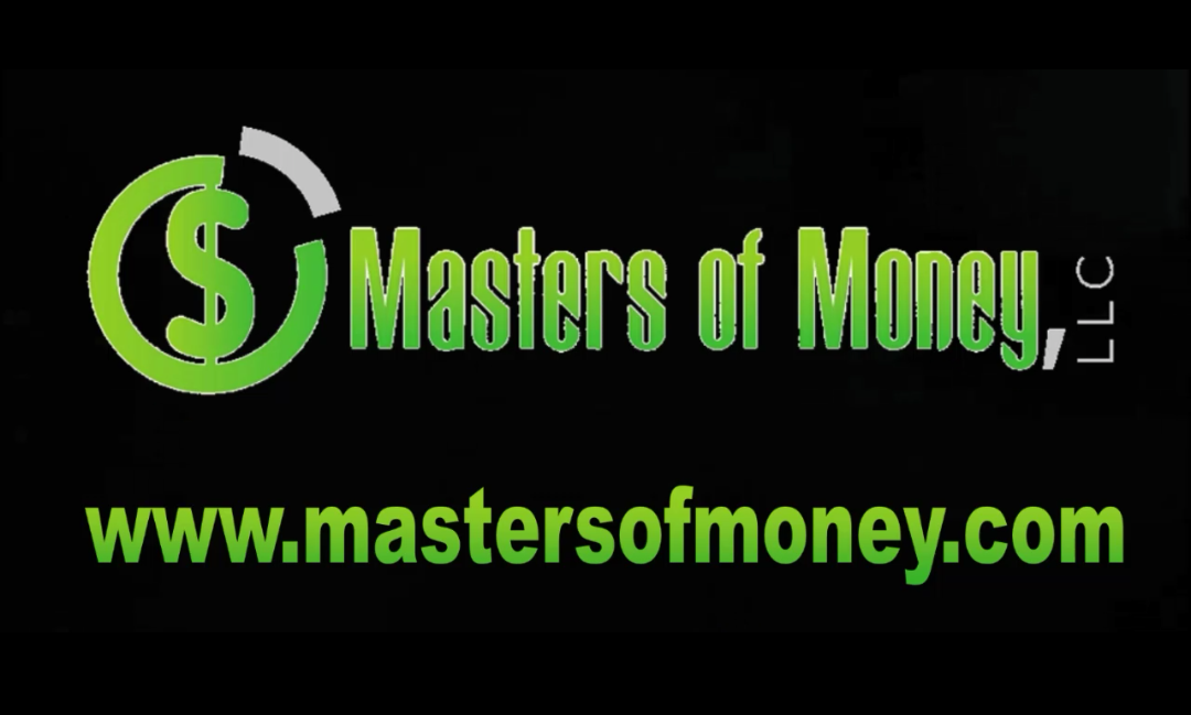 Black & Green Masters of Money LLC Logo and Mastersofmoney.com Website Graphic