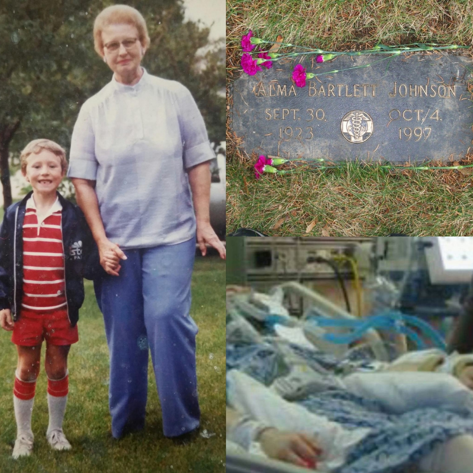 Grandma Johnson Grave MJ Hospital Collage Picture