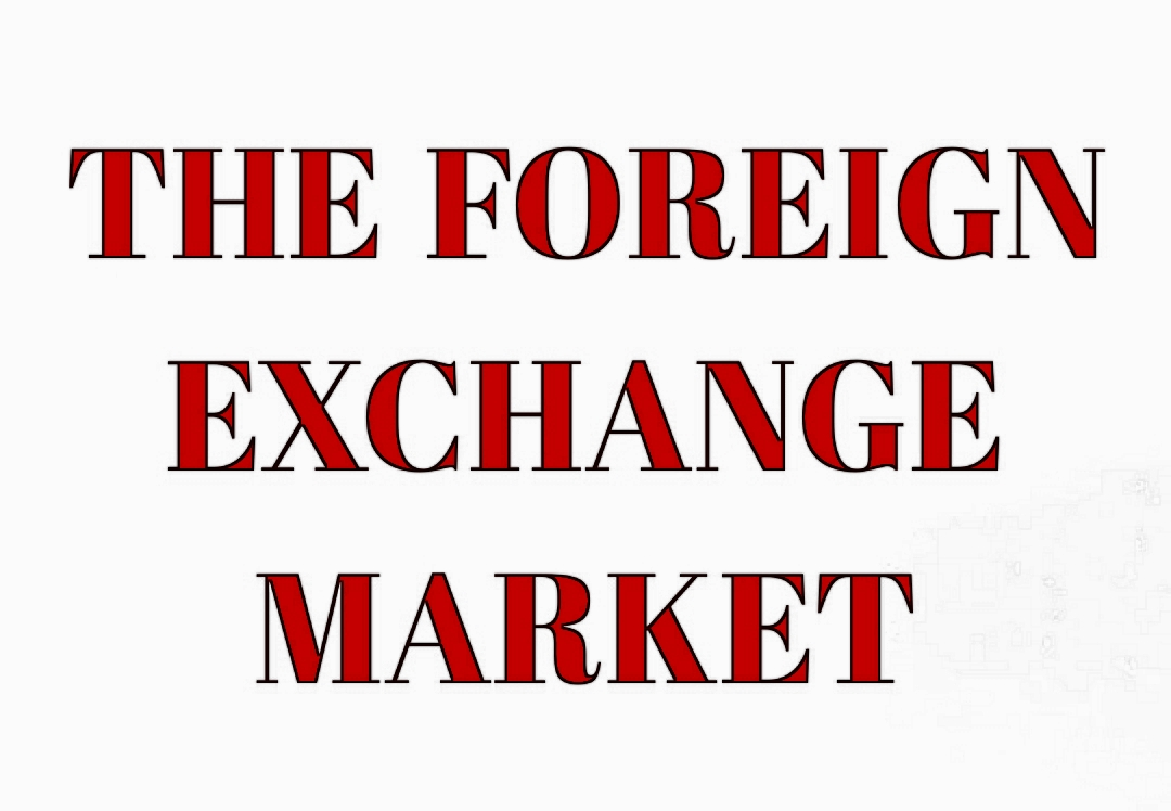 THE FOREIGN EXCHANGE MARKET WHITE & RED GRAPHIC
