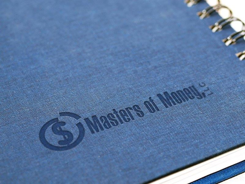 Masters of Money LLC Logo Branded Blue Notebook