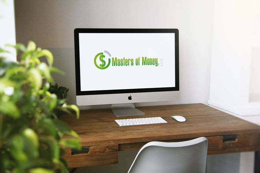 Masters of Money LLC Logo Screensaver On Desktop Computer