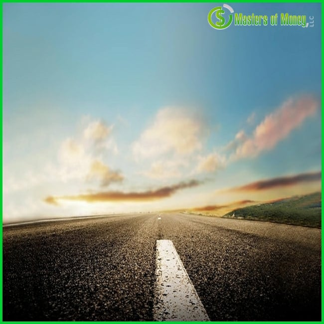 Wide Open Road & Big Blue Sky Masters of Money LLC Logo Branded Picture