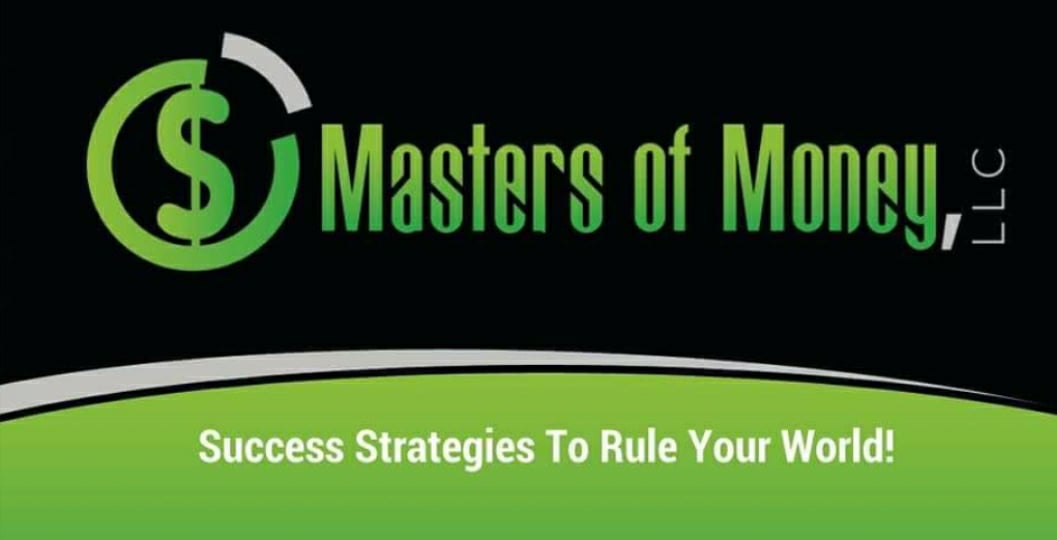 Masters of Money LLC - Success Strategies To Rule Your World! - Silver Green & Black Logo