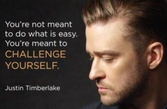 Masters of Money LLC Justin Timberlake Challenge Yourself Quote Picture