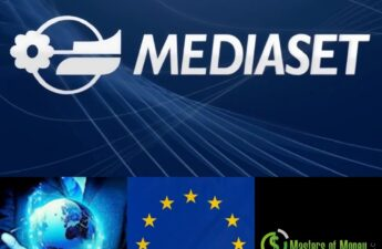 Mediaset Foreign Corporation European Union Flag and Masters of Money LLC Logo Collage