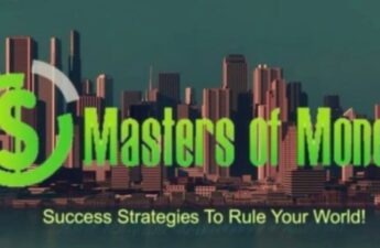 Masters of Money LLC Success Strategies To Rule Your World! Logo with City Background