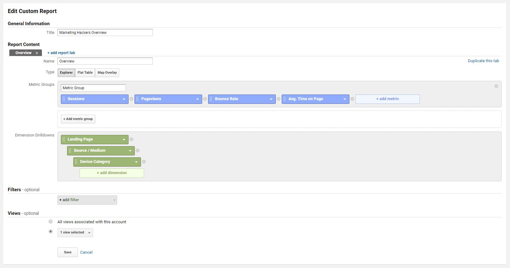 ga google analytics custom report settings overview marketing hackers