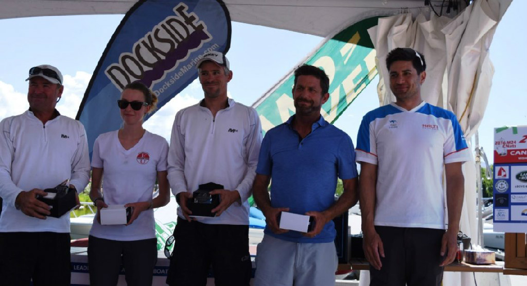 First Place in the Land Rover Kelowna Melges 24 Canadian National Championship Kevin Welch's Team on Mikey USA-838 from Anacortes, WA, USA