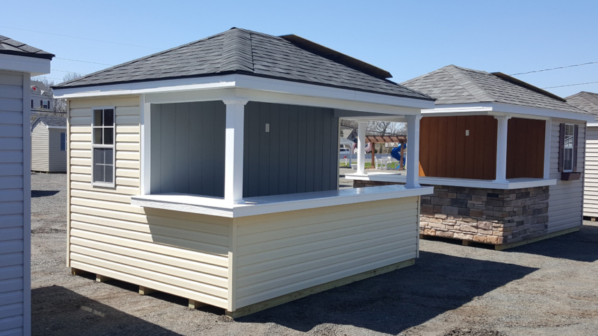 siesta pool house with vinyl siding