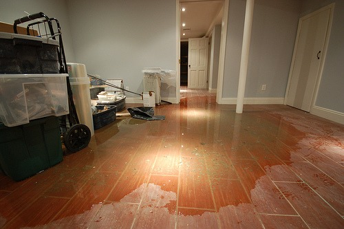 water damage restoration in basement of house