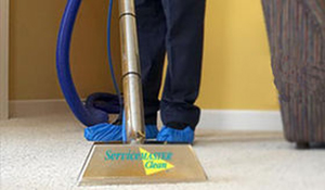ServiceMaster carpet cleaning in progress