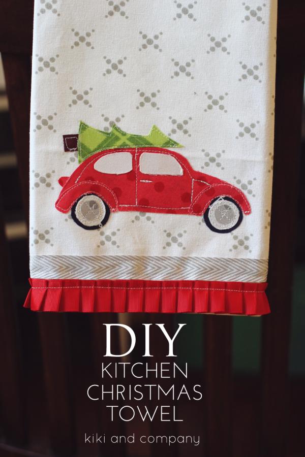 DIY kitchen Christmas towel...free template and printable at kiki and company