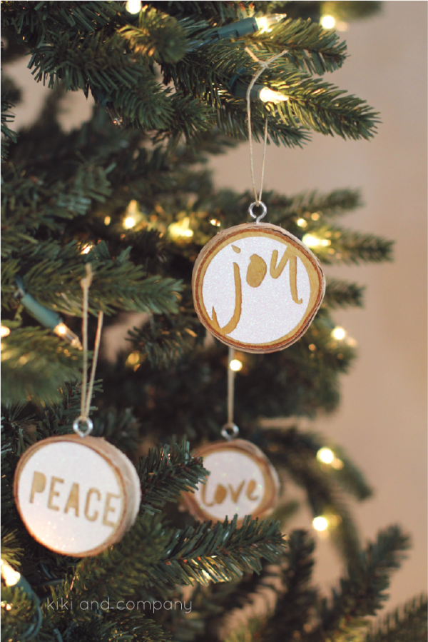 Love Joy Peace Christmas Ornaments from kiki and company. LOVE these!