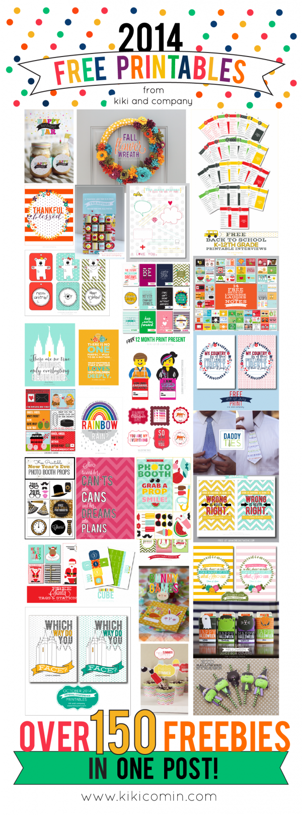 2014 Free Printables from Kiki and Company. Over 150 free printables in one post!