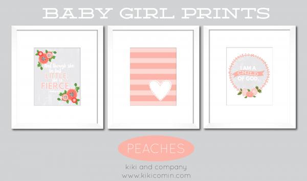 Peaches Set of Baby Girl Prints
