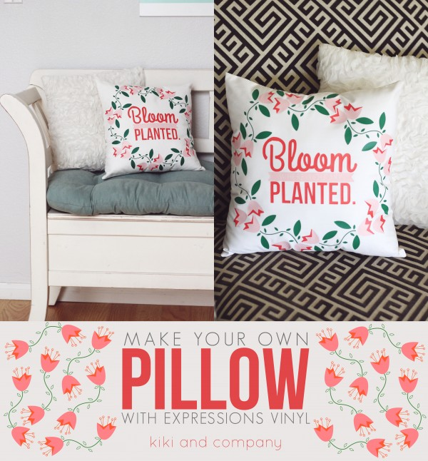Make your own pillow with Expressions Vinyl at kiki and company