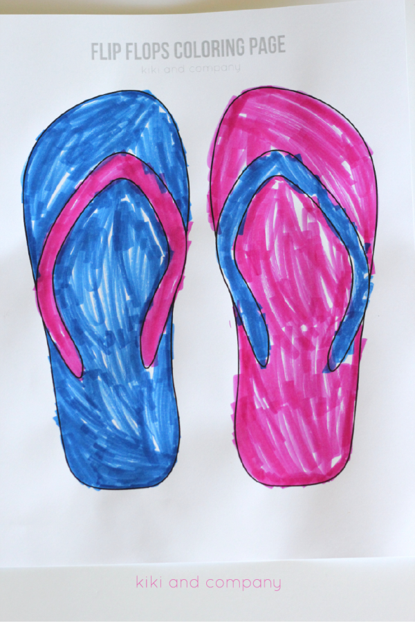 Free Flip Flops Coloring Page. Cute for summer.