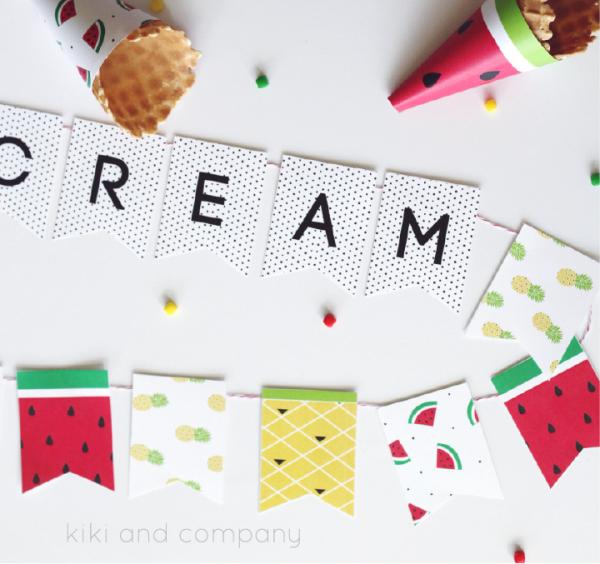 Ice Cream Banner at kiki and company.