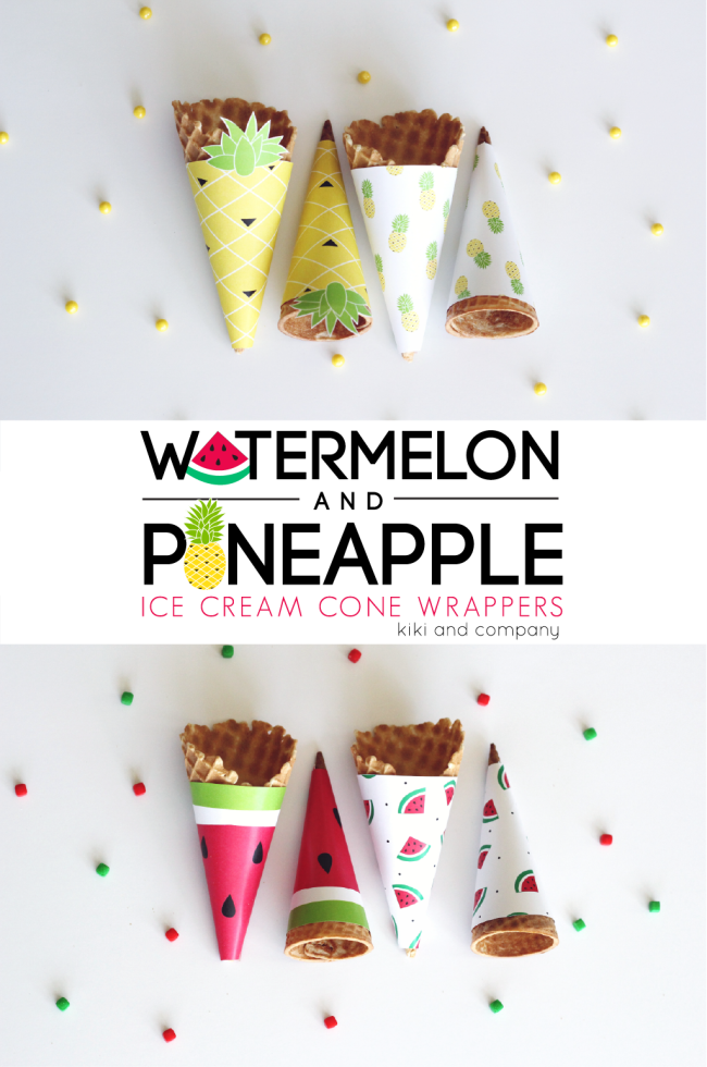 Watermelon and Pineapple Ice Cream Cone Wrappers. Cute!