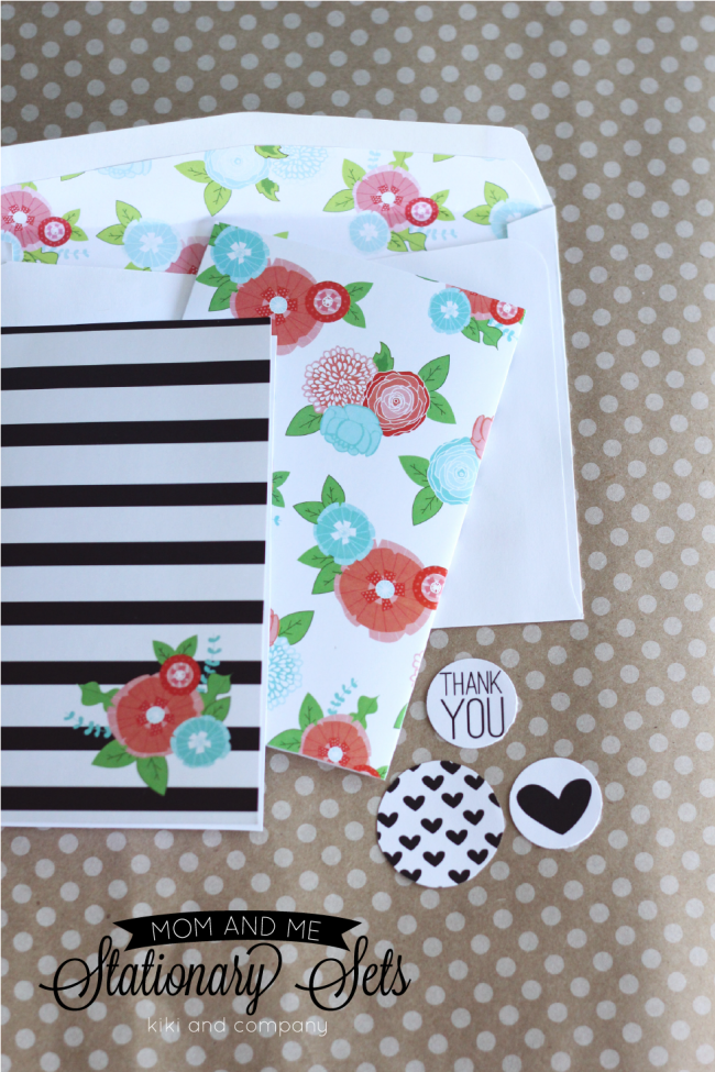 Free Mom and Me Stationary Sets from Kiki and Company. Flowers and Stripes. Cute!