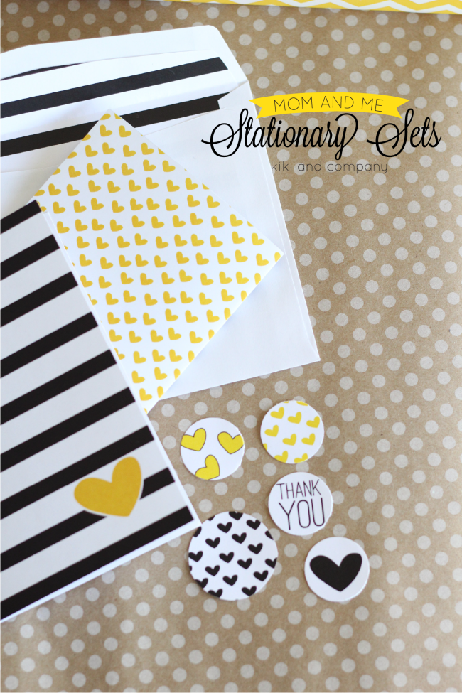 Free Mom and Me Stationary Sets from Kiki and Company. Hearts and Stripes