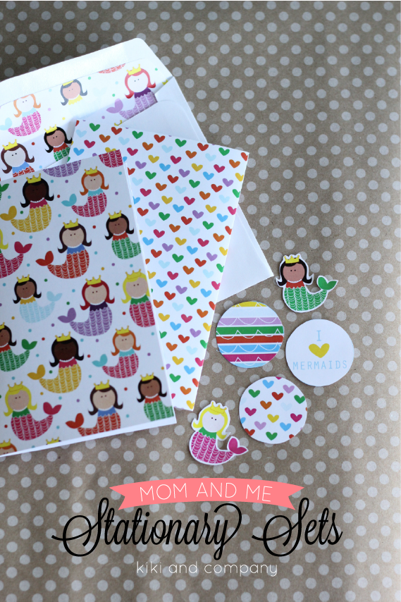 Free Mom and Me Stationary Sets from Kiki and Company. Mermaids and Heart set.LOVE!