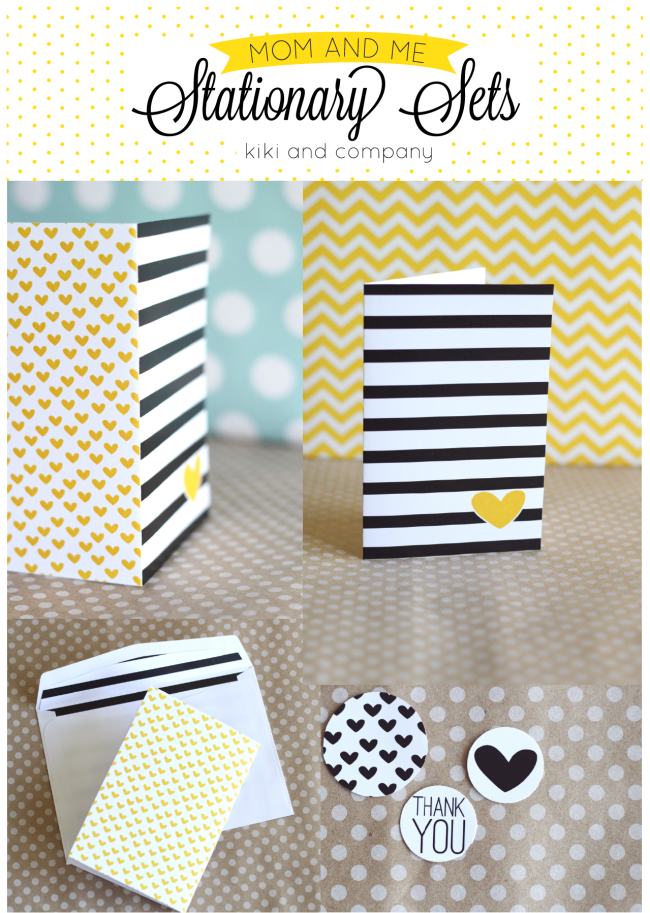 Free Mom and Me Stationary Sets from Kiki and Company. Stripes and Hearts