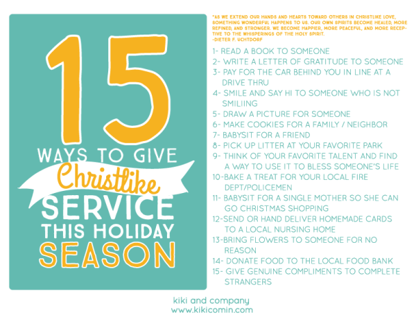 15 ways to give Christlike service this holiday season. This list is perfect!