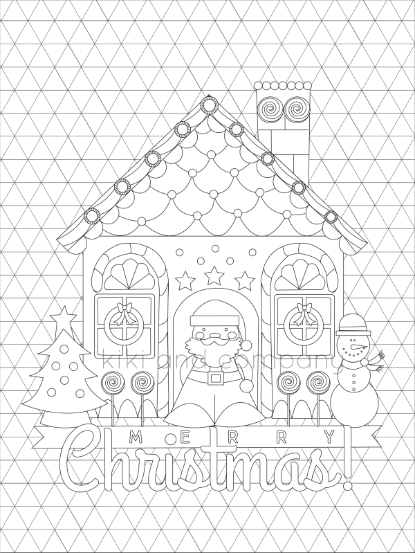 christmas coloring triangle