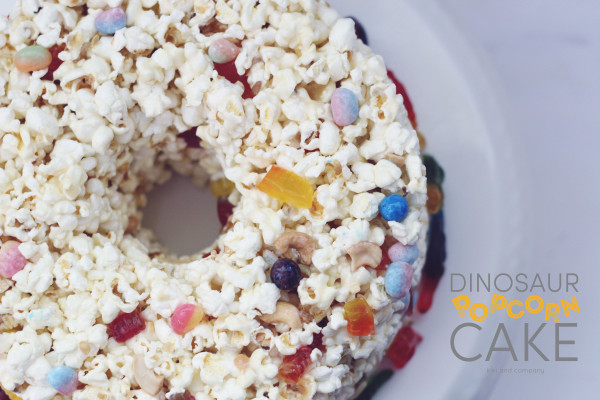 Dinosaur Popcorn Cake at kiki and company. Yummy!
