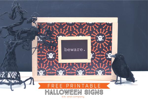 Free Printable Halloween Signs from kiki and company.