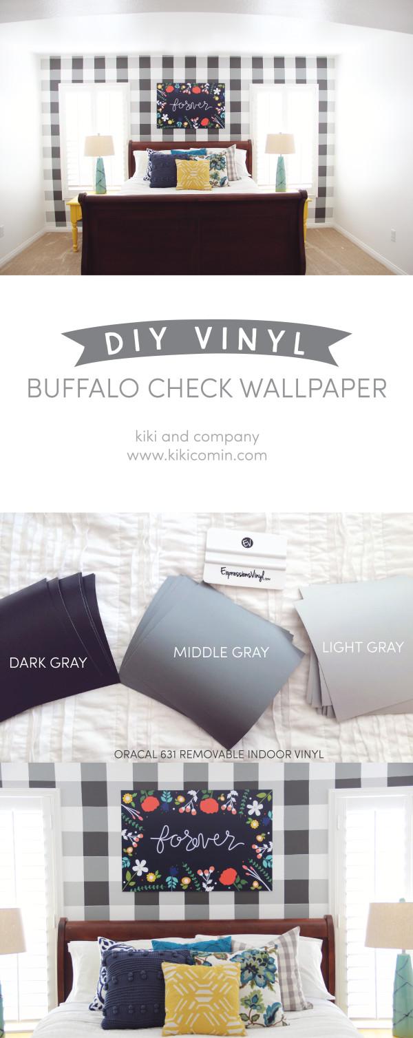 DIY Vinyl Buffalo Check Wallpaper