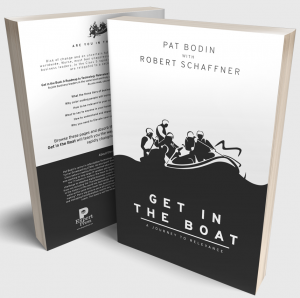 """""""Get in the Boat: A Journey to Relevance"""" by Pat Bodin with Robert Schaffner, front and back covers, book discussing Digital Transformation"""