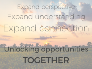 "sunset graphic with words ""Expand perspective, expand understanding, expand connections: Unlocking opportunities together"""