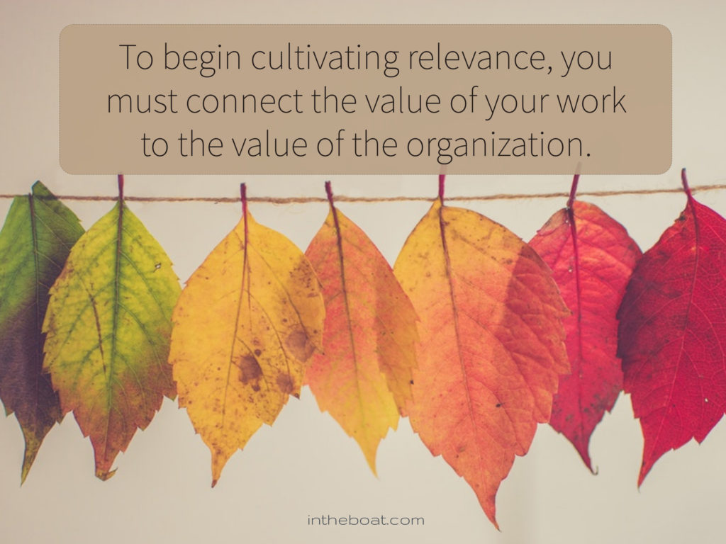 "Quote by Pat Bodin-  ""To begin cultivating relevance, you must connect the value of your work to the value of the organization."" on a background of leaves changing color on a clothesline"