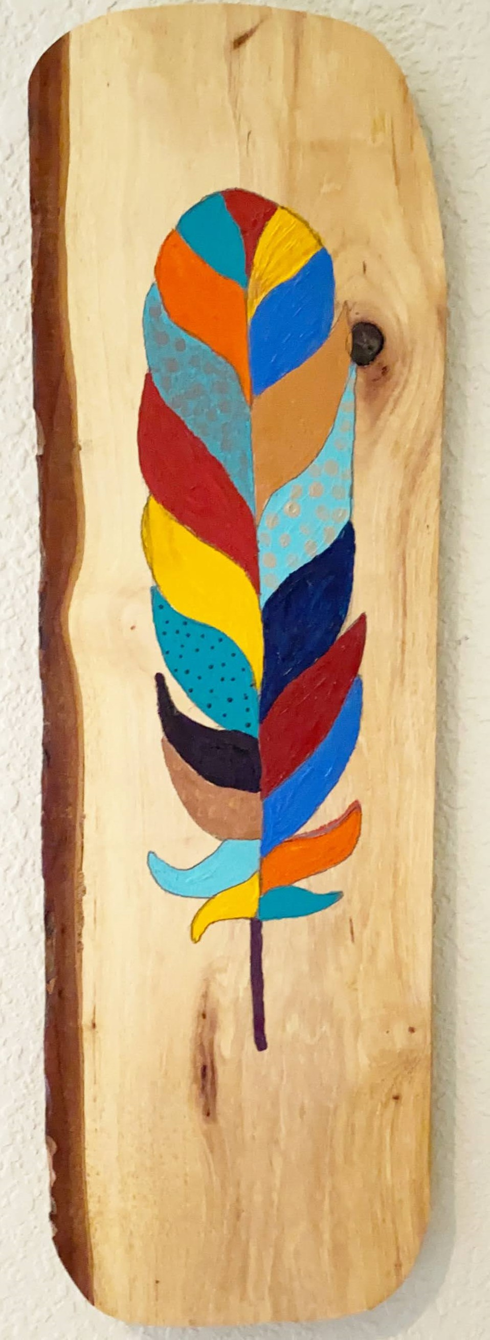 Feather Fantasy 2 - Pam Curtis - 19'' x 6'' - Acrylic on Wood