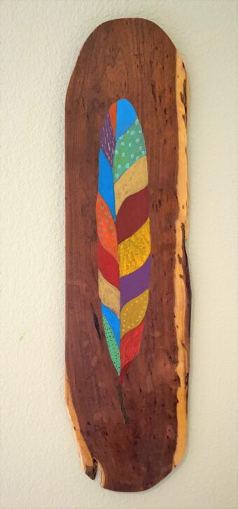 Feather Fantasy 1 - Pam Curtis - 29'' x 8'' - Acrylic on Wood