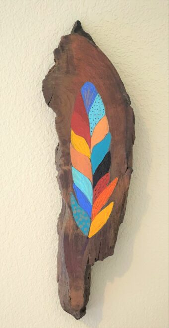 Feather Fantasy 3 - Pam Curtis - 18'' x 5'' - Acrylic on Wood