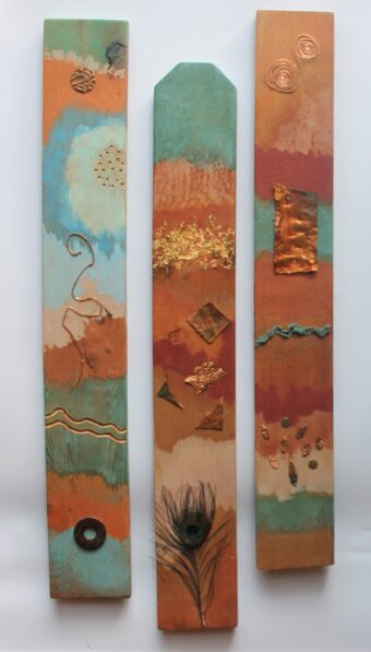 Totem Story - Pam Curtis - 24'' x 12'' - Mixed Media on Wood