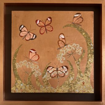 Copper Butterflies - Angeles Salinas - 21'' x 21'' - Mixed Media on Paper