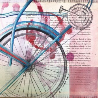 En la Tarde / During the Afternoon - Angeles Salinas - 8'' x 8'' - Mixed Media on Paper