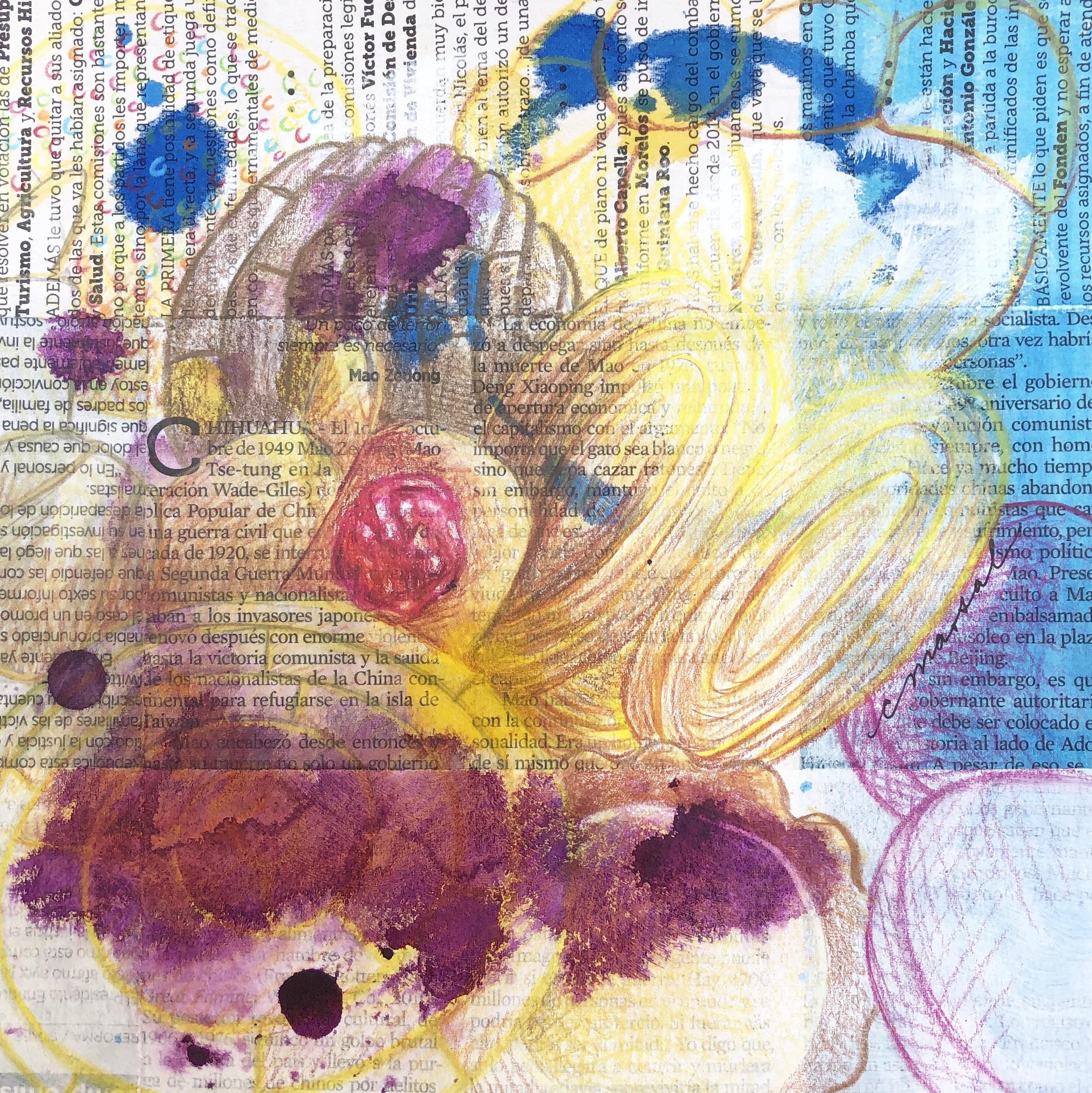 En el Desayuno / During Breakfast - Angeles Salinas - 8'' x 8'' - Mixed Media on Paper