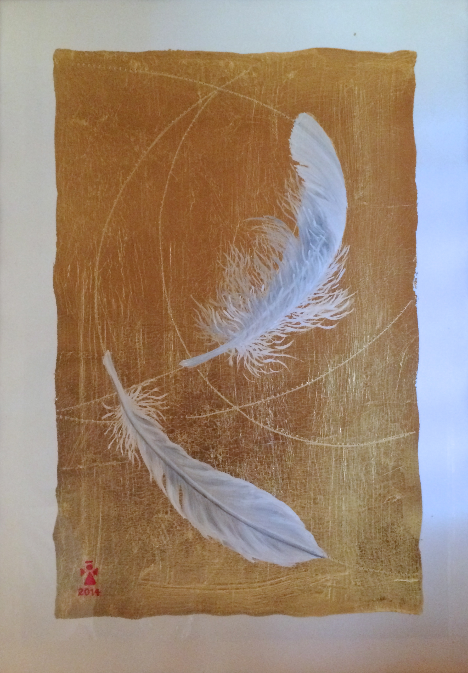 Feathers - Angeles Salinas - 12'' x 16'' - Mixed Media on Paper