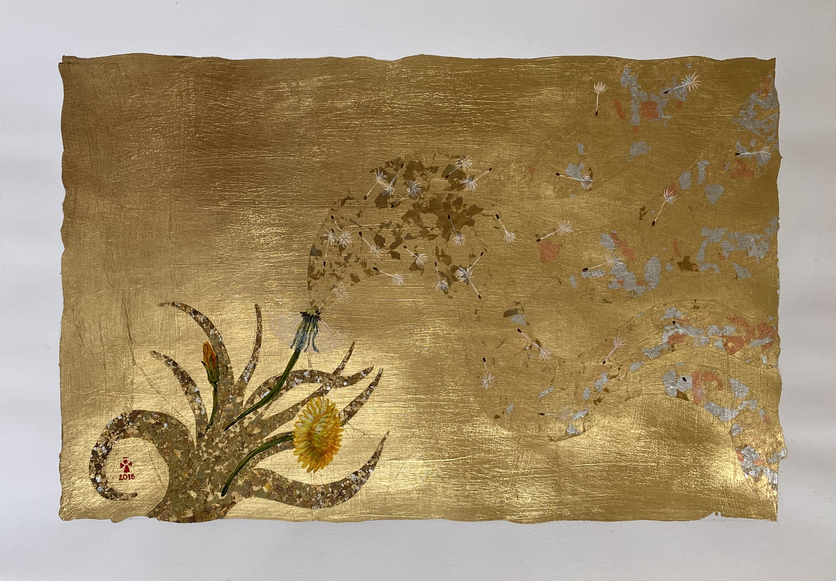 Dandelion in Wind - Angeles Salinas - 19'' x 14'' - Mixed Media on Paper