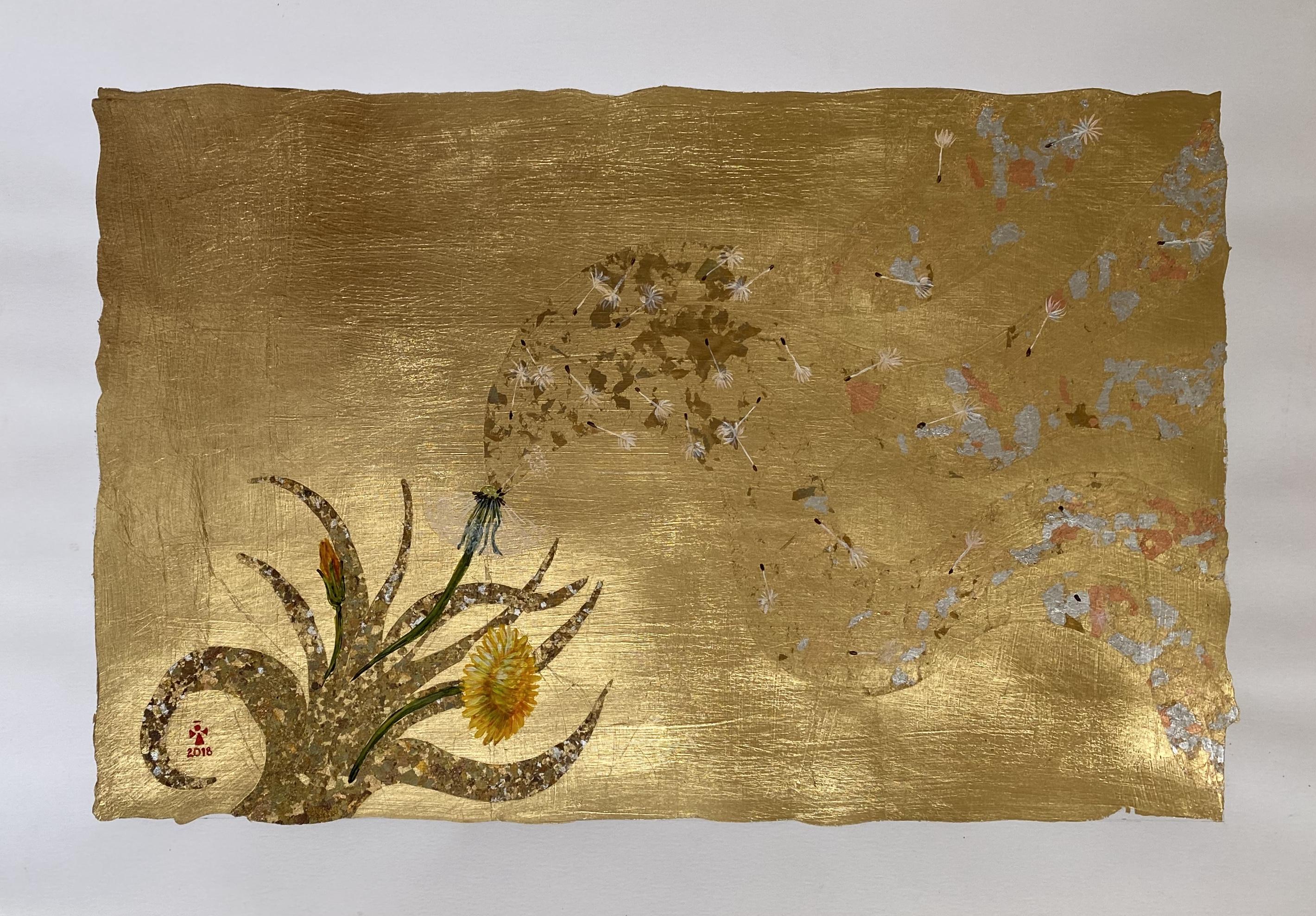 Dandelion in Wind - Angeles Salinas - 19'' x 14'' - Mixed Media on Paper