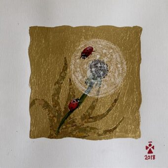 Dandelion Pappi - Angeles Salinas - 14'' x 14'' - Mixed Media on Paper